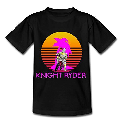 Spreadshirt Knight Ryder BMX Retro Teenager T-Shirt, 134/146 (9-11 Jahre), Schwarz