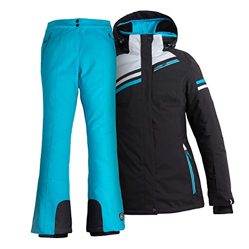 Skianzug Frauen Damenskianzug (schwarz/blau, 40)