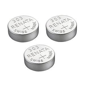 3 x Renata 301 Uhrenbatterie, Swiss Made, Silberoxid, 1,5 V (SR43SW)