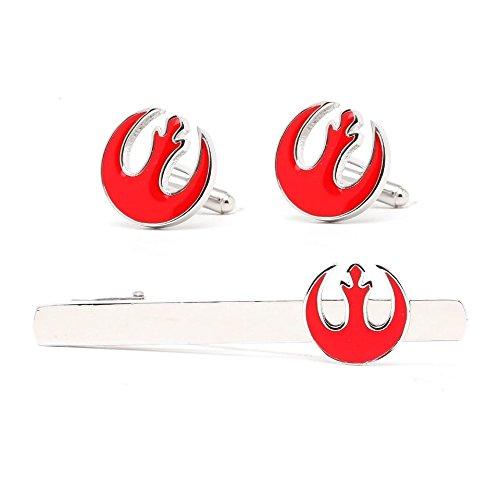 Star Wars Imperio Galáctico Alliance Starbird Party Logo Tie Clip Pin de corbata, Gemelos Star Wars disfraz Prop/Cosplay Gemelos, rosso