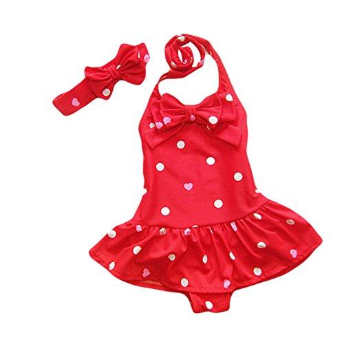 TAIYCYXGAN -  Costume intero - ragazza rosso L:3-4 Anni