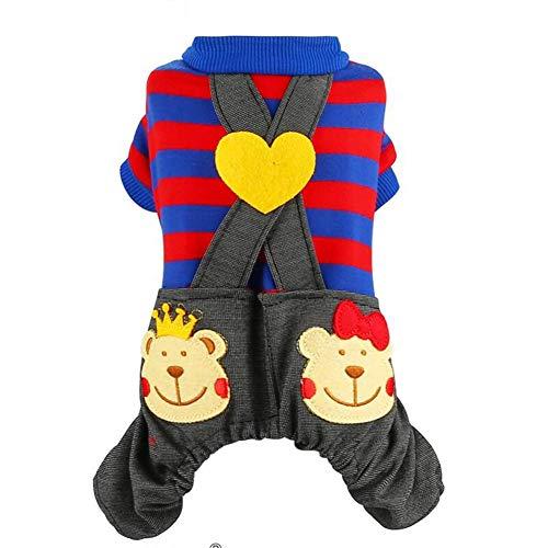 xy Hundeshirt Haustier-Kleid Kostüm Für Kleine Hunde Overall Schüler Schuluniform Streifen Dekoration Puppy Pants Denim Jeans Mit Tasche (Color : Pink, Size : S)