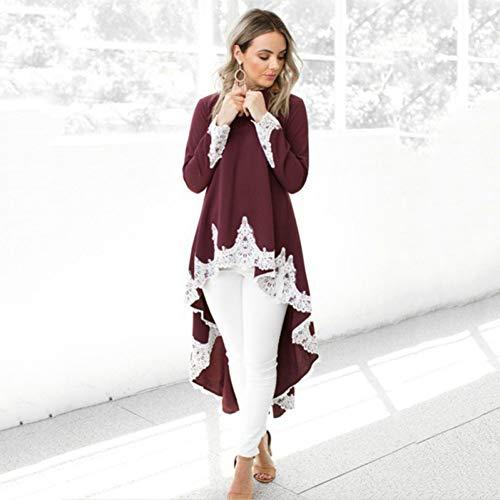 XSY Unregelmäßige Spitze Dress Frauen Plus größe Langarm grundlegende Kleider Casual schwarz weinrot Streetwear s-5xl,1,XXXL