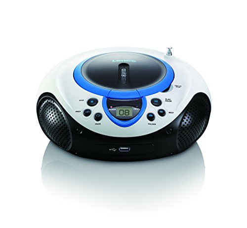 Lenco Kinder Radio CD-Player SCD-38 tragbares UKW-Radio mit CD/MP3-Player und USB in blau