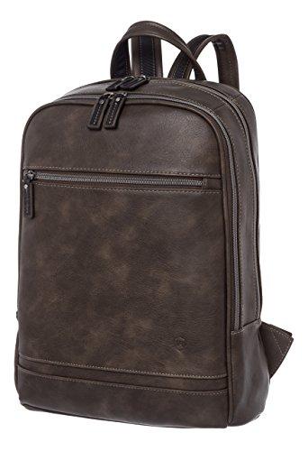 VON HEESEN Laptop-Rucksack bis 15,4 Zoll I 2 Fächer I Business-Rucksack mit Gepolstertem Notebook & iPad-Fach aus Kunstleder für Damen & Herren (Grau)