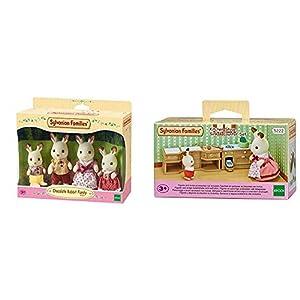 SYLVANIAN FAMILIES Familia de Conejos + Sylvanian Families-5054131052228 Set Horno, Fregadero y encimera Cocina, (Epoch para Imaginar 5222)