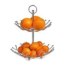 Zeller 27313 Alzata Frutta a 2 Strati, Cromato, Metallo, 0.1 x 28.5 x 36 cm