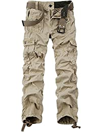 OCHENTA Men's Cotton-Washed Casual Cargo Trousers