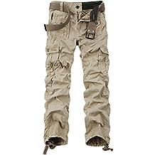OCHENTA - Hombre Algodón Washed Multi Bolsillos Militar Cargo Pant