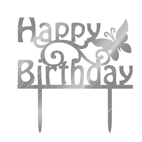 Mengonee Alles Gute zum Geburtstag Brief Acryl Silber Funkeln DIY Glitzer Kuchen Smash Kerze Partei Handmade-Stock-Kuchen-Deckel