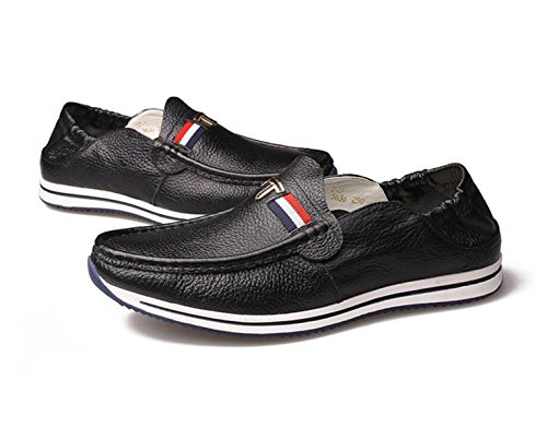... GRRONG Chaussures En Cuir Pour Homme En Cuir Véritable Loisirs Noir  Blanc Jaune Black