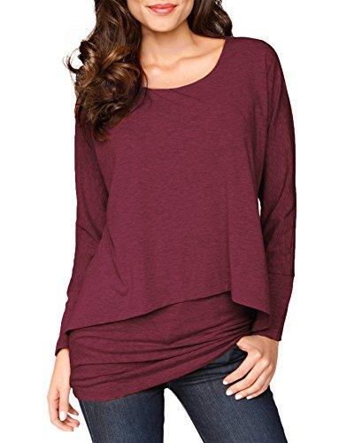 Jusfitsu Damen 2 in 1 Optik Langarmshirt Casual Tunkia Langarm Große Größen Longshirt Asymmetrisch Oberteil Top Shirt (Rot, XXL)