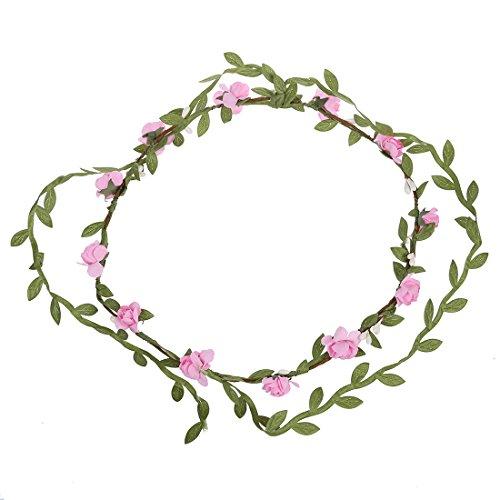 TOOGOO(R) Guirlande 12 Florale de Fete Mariage Boho Bande de Cheveux pour dame Rose
