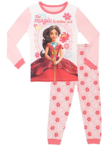Disney - pigiama a maniche lunghe per ragazze - elena di avalor - vestibilitta stretta - 7 - 8 anni