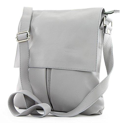 modamoda de ital. Messenger épaule sac sac dames en cuir grande T75, Präzise Farbe (nur Farbe):Grau