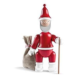 Kay Bojesen Père Noël - Figurine en bois rouge/blanc/avec son bâton de marche et hotte