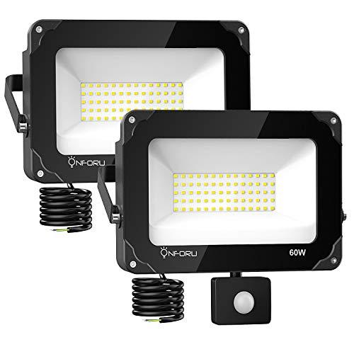 Onforu 2× 60W Foco Exterior LED con Sensor de Movimiento, 6000LM IP66...