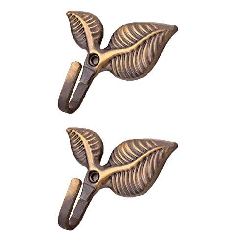 Dosige 1 paar Retro-Stil Kleiderhaken Nostalgischen Haken Garderobenhaken Mantelhaken Wandhaken Blattform (Bronze) (Bronze Kleiderhaken)