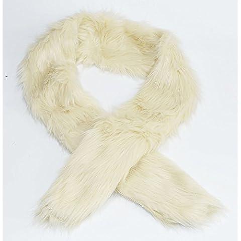 New luxury, Double-face e morbido, collo Sciarpa Fuax pelliccia, colore: crema