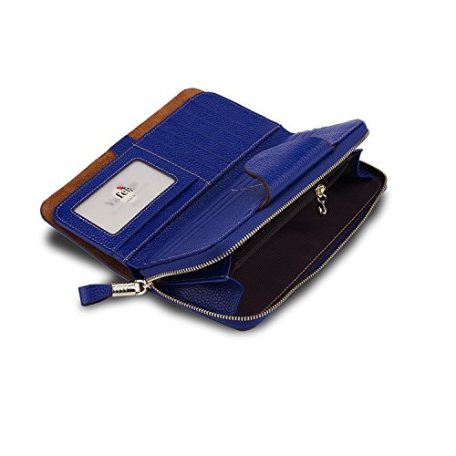 Yafeige Large Luxury Women's RFID Blocking Tri-fold Leather Wallet Zipper Ladies Clutch Purse(Royal Blue)