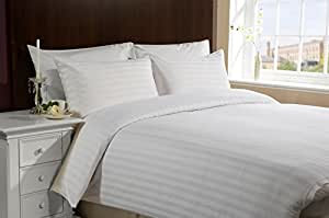 The Cotton Company Luxury 250TC Cotton Satin Stripe Bedsheet - White with 2 Pillow Covers (King Size)