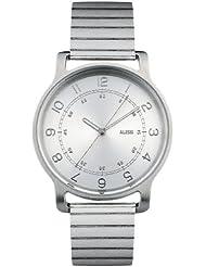 Alessi  AL28000 - Reloj de cuarzo para hombre, con correa de acero inoxidable, color gris