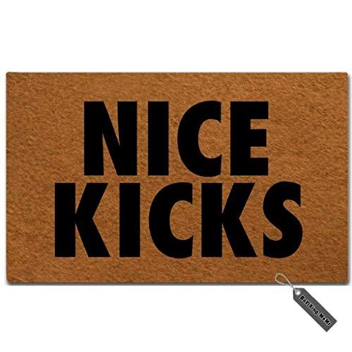 MsMr Fußmatte Eingang Fußmatte, Funny Fußmatte-Nice Kicks entworfen Indoor Outdoor Fußmatte Vlies Stoff TOP 45,7x 76,2cm - Gummi-kick
