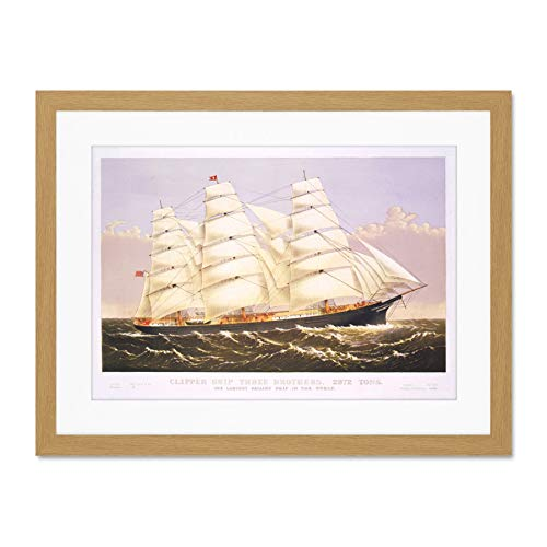 Paintings Transport Clipper Ship Sail Mast Sea Large Art Print Poster Wall Decor 18x24 inch Supplied Ready to Hang with Included Mount Brackets Gemälde Schiff Segeln Große Kunst Wand Deko 24 Mast Mount