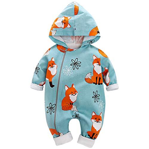 Livoral Neugeborenes Baby Cartoon Schlafanzug,Baby Mädchen Junge Mit Kapuze Overall Outfit(Himmelblau,3-6 Monate)