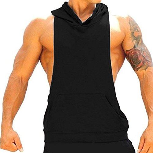 CHIC-CHIC Herren Sport T-Shirt Sweatshirt Hood West Tank Top mit Kapuze Weste Ärmellos Kapuzenshirt Fitness Gym Joggen (Schwarz, M) (ärmelloses Mit Kapuze Shirt)