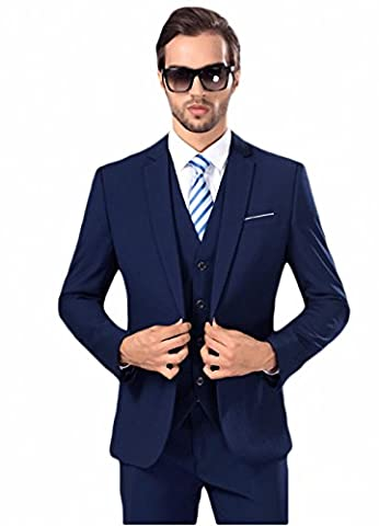 GOMY Slim Fit 3-Teilig Herrenanzug Smoking Hochzeit Party Sakko Weste Anzughose