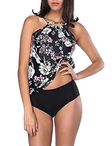 FeelinGirl Damen Push up Bikini mit Bügel V-Kreuz Bademode Beachwear -