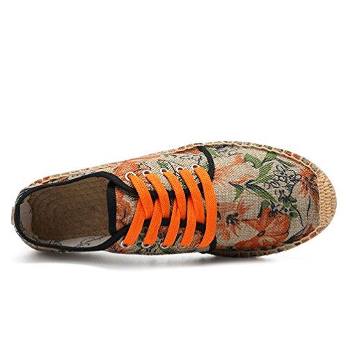 YOUJIA Homme Confortable Espadrilles en Toile Semelle Caoutchouc et Corde Tressée Mode #2 Orange