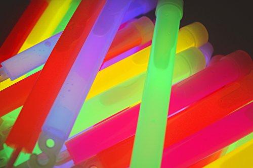 molinoRC 50x Power Knicklichter Bulk | 150x15 mm FETT und HELL Leuchtstäbe | 6 Farben Öse | Knicklichter Leuchtstäbe | Armreifen Glowstick | Partylichter Neon | rot gelb grün pink orange blau
