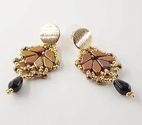 orecchini a lobo pendenti a goccia fatti a mano tessitura di perline con pietra dura onice