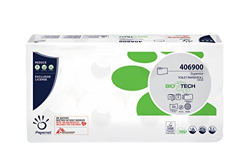 Papernet 406900Biotech WC-Tissue, Pure Zellstoff, Micro geprägt, 3-lagig, weiß (9Stück)