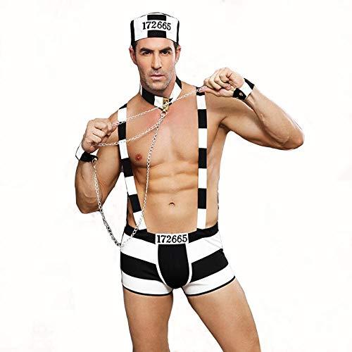 HJG Männer Gefangener Cosplay Bodysuit Dessous Set, Sexy Halloween Kostüme für Männer, Rollenspiel Outfits mit Eisenkette (Coole Männer Outfits Für Halloween)