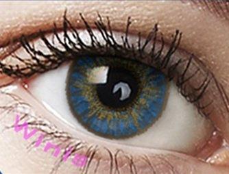 """Farbige Kontaktlinsen Monatslinsen blau saphierblau """"Saphire Blue"""" ohne Stärke mit Aufbewahrungsbehälter"""