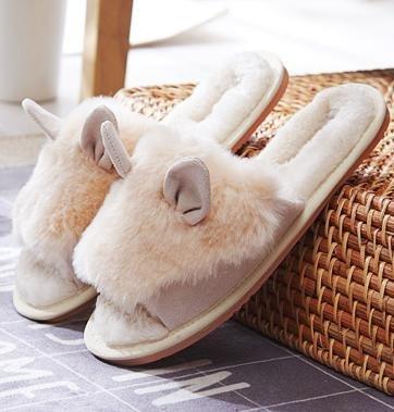&zhou L'automne féminin et chaussons mignons hiver, mode chaussons coton chaud maison 38-BEIGE