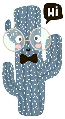 dekodino® Wandtattoo Pflanze Kaktus mit Brille bunt Kinderzimmer Deko