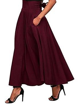 Falda larga plisada con cintura alta y falda larga con cintura abierta