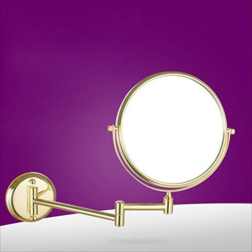 Kosmetischer Spiegel-an der Wand befestigter Badezimmer-teleskopischer faltender doppelseitiger Schönheits-Spiegel 6 Zoll 8 Zoll-dreifache Vergrößerung (Farbe : Golden, größe : 8 inches) -