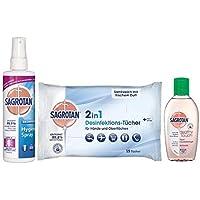 Preisvergleich für Sagrotan Kleines-Reise-Set mit 3 Artikeln (Hygiene-Pumpspray 250ml, 2in1-Desinfektionstücher 15 Stück, Hand-Desinfektionsgel...