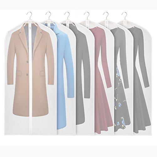 Syeeiex PEVA Kleidersäcke für Kleideraufbewahrung und Reisen, Ausweishalter für Anzug, Lange Jacke, Kleider, Mantel (6pcs 152cm) - Leder-reise-kleidersack