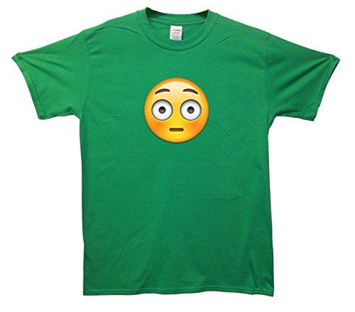 Flushed Face Emoji T-Shirt Grün