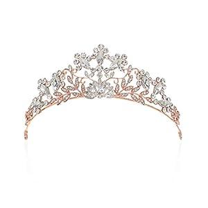 SWEETV Schmuck Krone für Frauen Haarzusätze Hochzeit Krone Kristalle Tiara Diadem für Festzüge Abschlussbälle