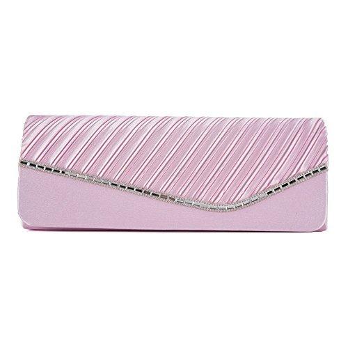 Haute For Dive New Ladies Ruched Strass Dettaglio Cristallo Tempestato Velour Satura Borsa Frizione Borsa - Cb085 Rosso, Medio Cb086 Rosa