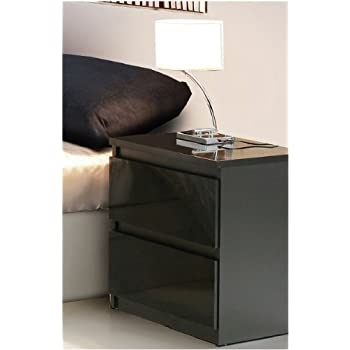 Lucia Black Gloss Bedside Table Chlk C By Furniturefactor