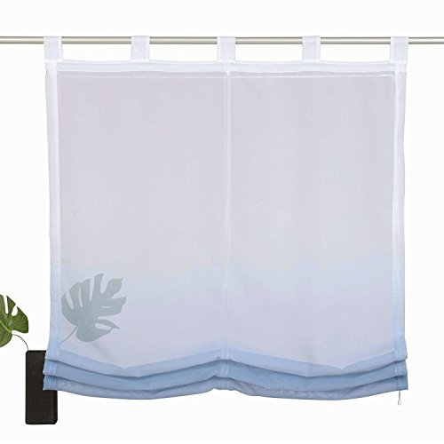 Angelo bud tulle roman shade – tenda a pannello tenda a pacchetto di sollevamento tende con passanti – 1 piece – finestra per camera da letto, bagno, cucina, blue and white gradient, 1 x width 120cm / height 150cm