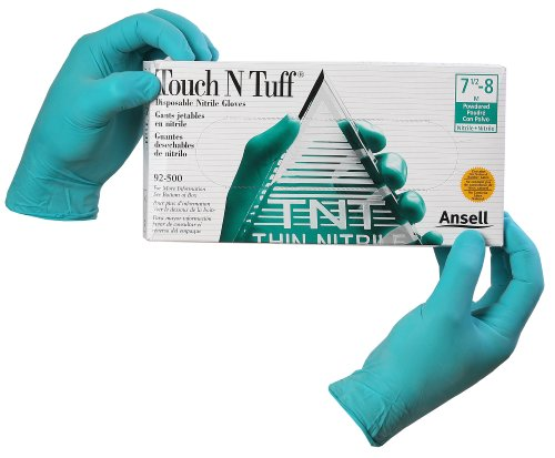 Ansell-Edmont 92-600-S Touch N Tuff Nitrile Gloves, Powder Free, Size Small (6.5 - 7)